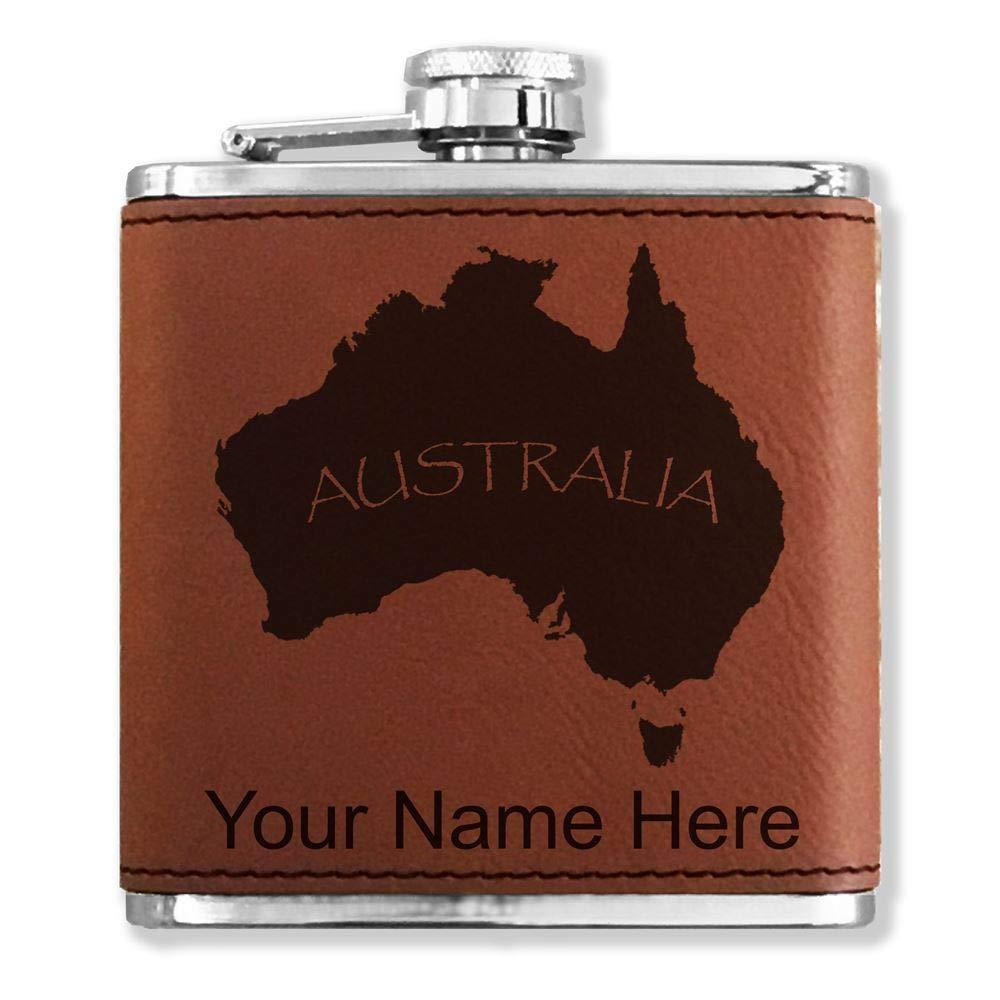 フェイクレザーフラスコ – Australian Continent – カスタマイズ彫刻Included (ダークブラウン)   B01LY9GMAV