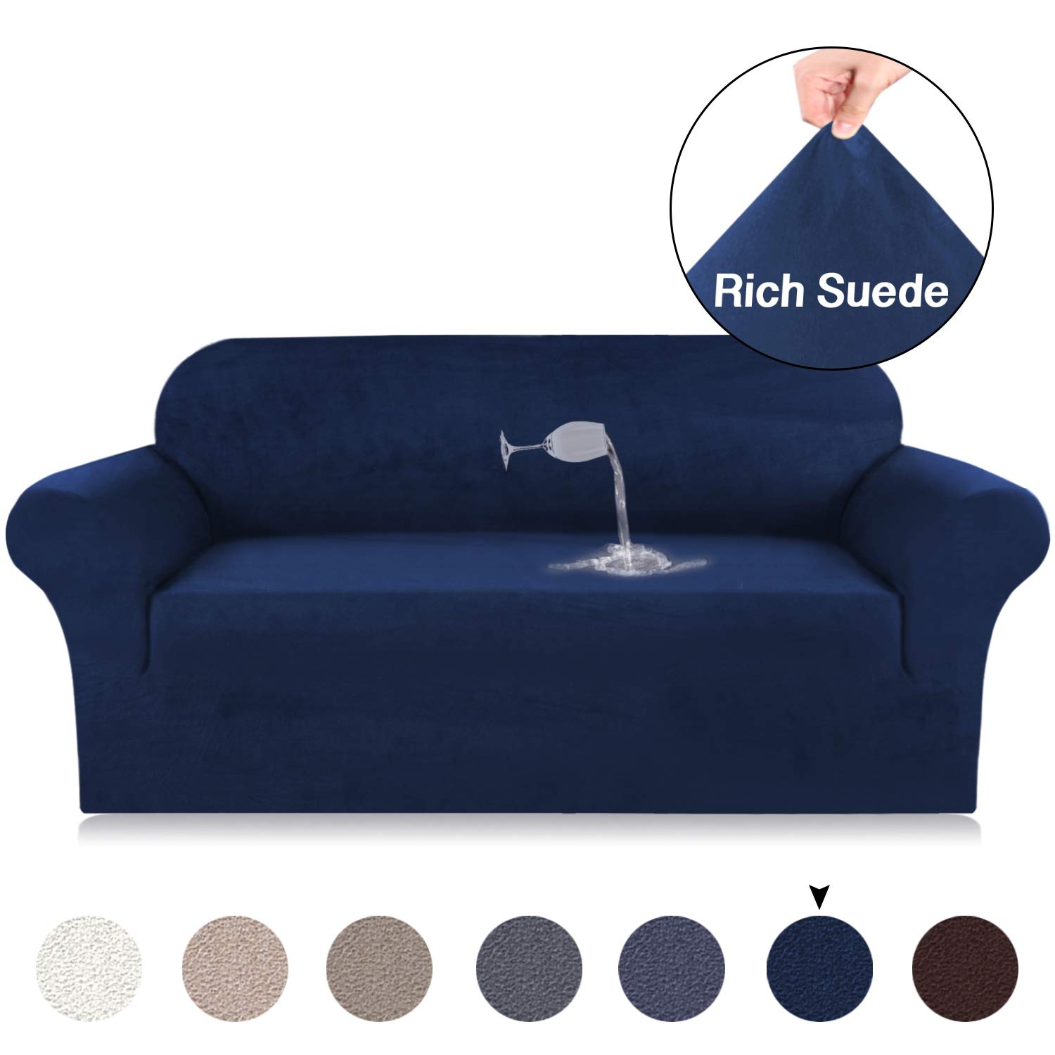 Magnificent Stretch Navy Blue Sofa Covers Spandex Suede Sofa Cover Water Repellent Couch Loveseat Cover 3 Seat Sofa Cover Velvet Plush Suede Furniture Protector Pabps2019 Chair Design Images Pabps2019Com