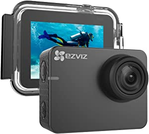 """EZVIZ S2 Lite Action Camera 1080p 60fps 8MP 131ft Waterproof 2"""" Touch Screen Interface On Dash Cam 150° Wide Angle Low-Light Mode Built-in WiFi Bluetooth Pocket Size Outdoor Sports"""