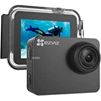 "Ezviz S3 Sport Action Camera, risoluzione 4K/24 fps o video Full HD, foto fino a 8 MP, display touch screen 2"", WiFi, Bluetooth 4.0, custodia waterproof e accessori di fissaggio inclusi, Grigio"