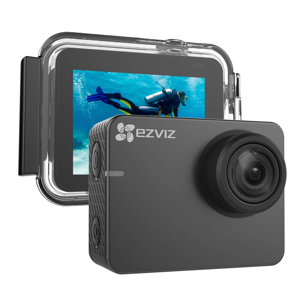 EZVIZ 4K Action Camera 131ft Waterproof Housing Included 2'' Touch Screen Interface 150° Degree Wide Angle Low-Light Mode Built-in Wi-Fi Bluetooth Outdoor Sports with Mounting Accessories Kit S3
