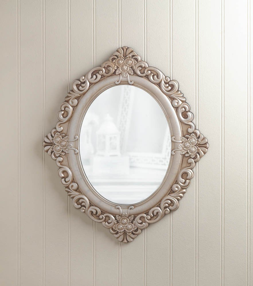 GHP Home Decor 19.5''x3/4''x23'' Vintage Estate Antique Style Wood Oval Hanging Wall Mirror