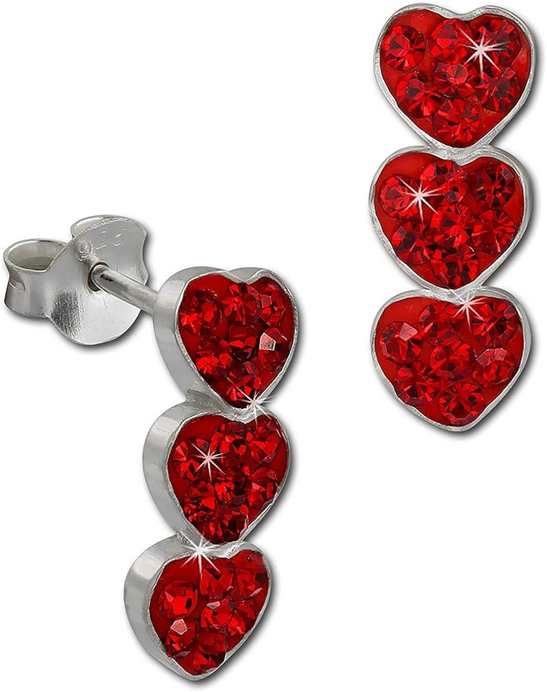 SilberDream Preciosa Checa cristales brillante Stud Pendientes Plata de Ley 925Tres Corazones con rojo pendientes para mujer GSO606R