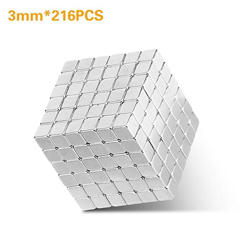 216 PCS 3mm Magnetic Cube Puzzle Prime Quality Fidget Toys Fidget Cube Ideal Office Stress Relief Executive Desk Toy. Magic Metal Square Fidget Magnets Cool Gadget. Coolpay