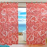 SUABO 2PCS Ultra Luxurious Window Gauze Curtains, Polyester Washable Sheer Window Curtain Panels for Bedroom Living Room 55″ W x 78″ L – (Set of 2 Panels), Red Lovely Hearts Pattern For Sale