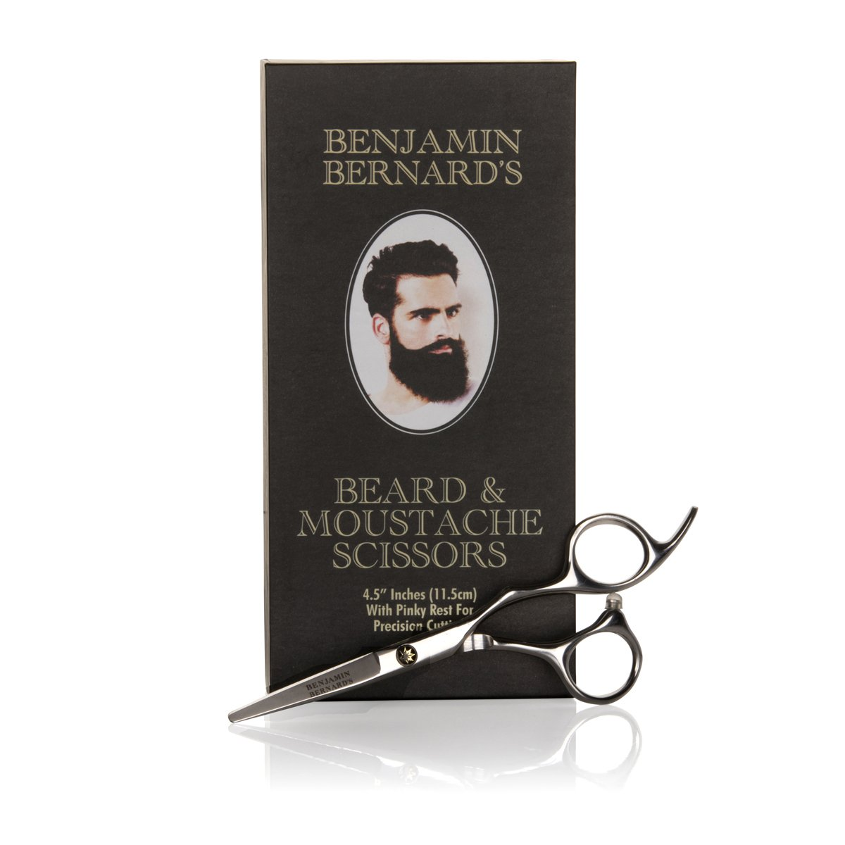 Beard Scissors - Beard and Moustache Scissors for Beard Grooming by Benjamin Bernard - Precision Facial Hair Trimming, Beard Shaping Tool - Sharp, Durable Stainless Steel Scissors - 5 in / 12.7 cm Second Glance Beauty