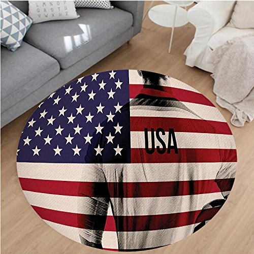 Nalahome Modern Flannel Microfiber Non-Slip Machine Washable Round Area Rug-ouble Exposure Image of A Soccer Player and American Flag National Usa Run Beige Blue Red area rugs Home Decor-Round 67'' by Nalahome