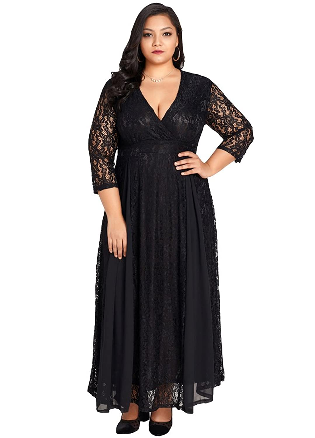 7a71caf1d6d ☆QUALITY COMFORT  Lace maxi dress plus size crafted from a romantic  exquisite lace fabric