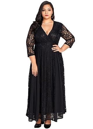 Romacci Women Plus Size Dress Solid Lace Chiffon Deep V 3/4 ...