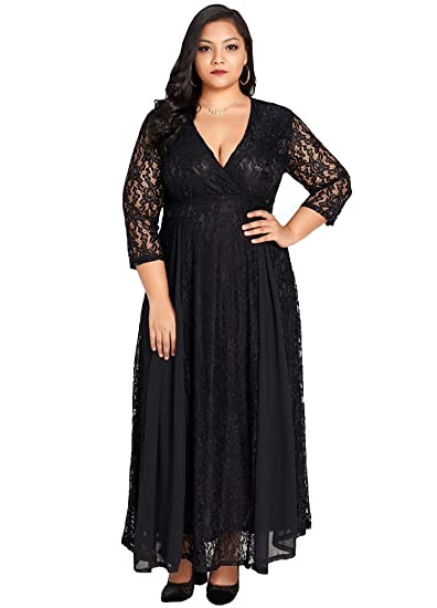 6705015c88a Jose Pally Women's Plus Size Lace Maxi Dress V Neck 3/4 Sleeve Floral  Wedding Gown with Lining