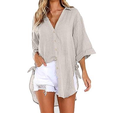 Womens Loose Button Long Shirt Dress Cotton Ladies Casual Tops T-Shirt Blouse