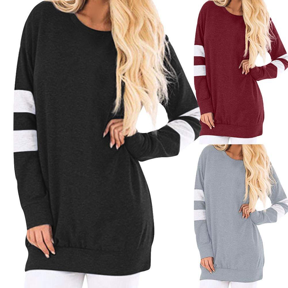 Whitegeese Womens Fashion Long Sleeve O-Neck Sweatshirt Pullover Tunic Blouse Tops
