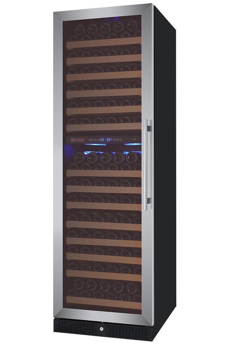 Allavino FlexCount Classic Series 172 Bottle Dual-Zone Wine Refrigerator Left Hinge Stainless Steel