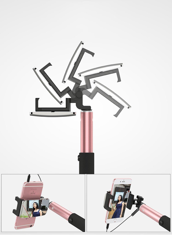 Negro GOGODOG Palos Selfie Conexi/ón inal/ámbrica Universal Bluetooth Control de Cable 360 /° de rotaci/ón Espejo Trasero Aleaci/ón de Aluminio Longitud retr/áctil Luz de Relleno Temporizador autom/ático