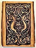 Old World Art - Handmade and Handcrafted Woodburned Medieval Fatimid Horse Arabesque Wall Hanging Or Desk Art Plaque - Antique Look For Sophisticated Home or Office Decor