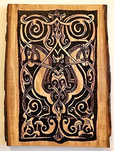 Old World Art - Handmade and Handcrafted Woodburned Medieval Fatimid Horse Arabesque Wall Hanging Or Desk Art Plaque - Antique Look For Sophisticated Home or Office Decor by The Arabesque