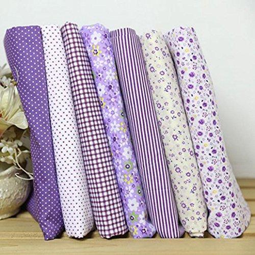(Honghong 7pcs DIY Cotton Fabric Flower Polka Dot Bundle Patchwork Quilt Cloth,25x25cm (Purple (7pcs/Set)))