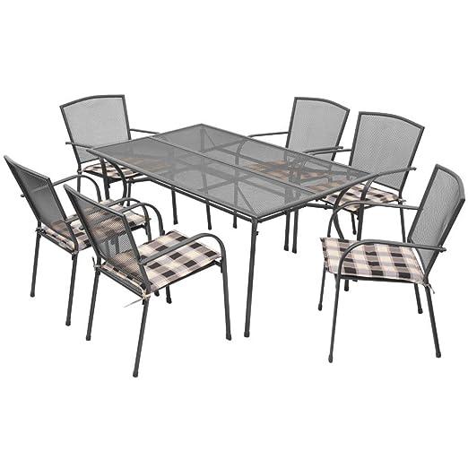 Tidyard Conjunto de Mesa y 6 Sillas Apilables con Diseño de Malla ...