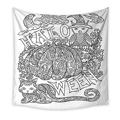 (Anniutwo Tapestry Dorm Halloween Coloring Page with Pumpkin Halloween Vector Illustration with owl cat Spider Beach Throw Tapestry 32W x 32L)