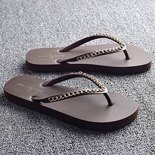 FEI Chanclas Señoras frescas zapatillas de moda de verano zapatillas zapatos resbaladizos playa femenino beige, negro, marrón, blanco Antidérapant ( Color : Negro , Tamaño : EU37/UK4-4.5/CN37 ) Marrón