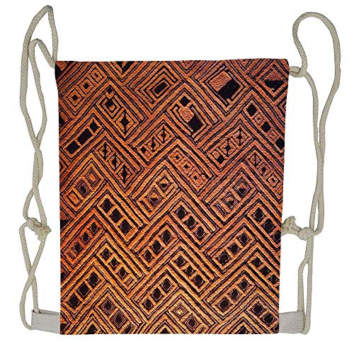 (CardlyPhCardH Raffia Kuba Pattern 4 Drawstring Bag Gym Bag Travel Backpack Best Gym Backpacks For Teen Men Women)