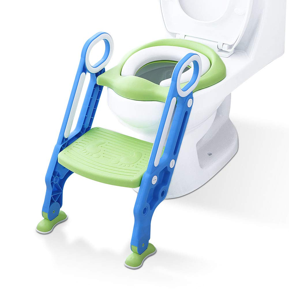 Aerobath Baby Potty Training Toilet Seat Adjustable Toddler Child Toilet Trainer with Step Stool Ladder, Anti-Slip, Sturdy (75KG), Foldable for 1-7 Kids (Green & Blue)