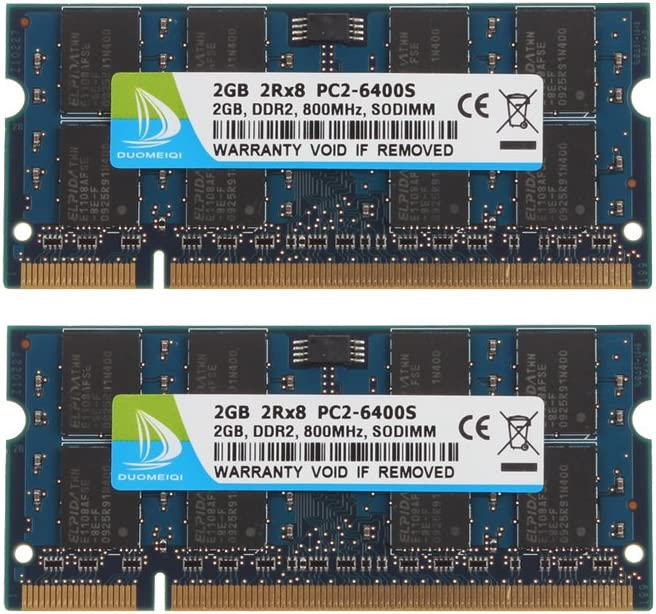 DUOMEIQI 4GB (2X 2GB) 2RX8 PC2-6300 PC2-6400 PC2-6400S DDR2 800MHz CL6 200 Pin 1.8v SODIMM Notebook RAM Non-ECC Unbuffered Laptop Memory Module Compatible with Intel AMD and MAC System-Blue