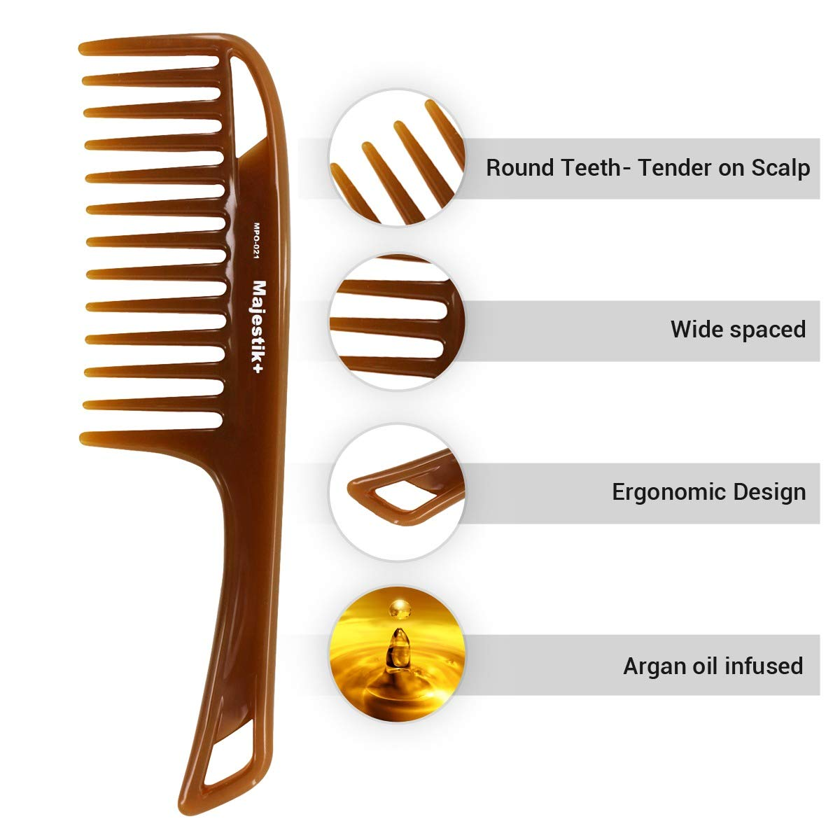Hair Comb- a Handle Hair Comb infused with Natural Essence Oil by Majestik+, Wide Tooth, Brown, Detangling Comb, With Free Bespoke PVC Product Pouch (MPO-021) JLS Personal Care Ltd