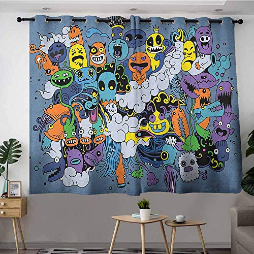 (Grommet Window Curtains,Indie Group of Funky Monsters Society Different Expressions Abstract Groovy Doodle Style,Grommet Curtains for Bedroom,W55x63L Multicolor)