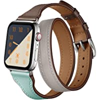 Double Tour Designer Band Replacement for Apple Watch Series 1/2/3/4 Leather Wristband iWatch Bands Colorblock