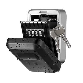 cerradura montada en la pared Combinaci/ón de llaves segura Caja fuerte con cerradura de almacenamiento grande para el garaje del hogar Llaves de repuesto Caja de cerradura con llave de alta seguridad