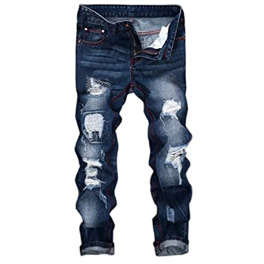 19fbe6866f73 Geili Herren Jeanshosen Biker Lang Destroyed Jeans Hose Vintage Used Look  Wasserwäsche Regular Fit Straight Denim