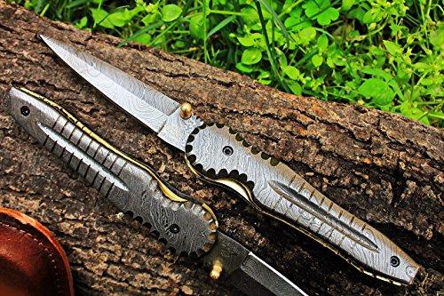 (19 5/18) Sale DKC-117-X Alligator Damascus Pocket Folding Knife 4.5' Folded 8.25 Long (No Clip)