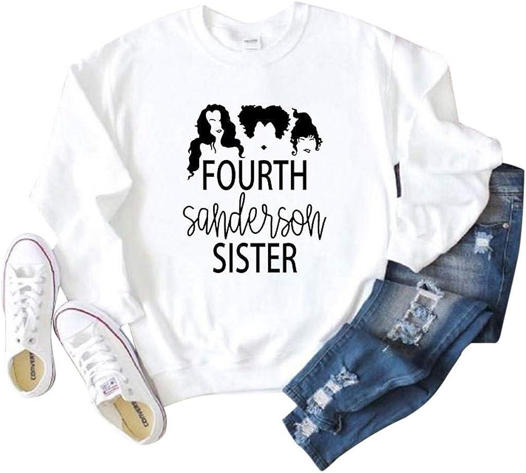 Winsummer Fourth Sanderson Sister Halloween Sweatshirt Women Funny Graphic Print Pullover T-Shirt Long Sleeve Top Shirt