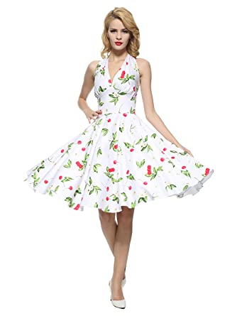 6a068c01262 Maggie Tang Women s 1950s Vintage Rockabilly Dress Size S Color White Cherry