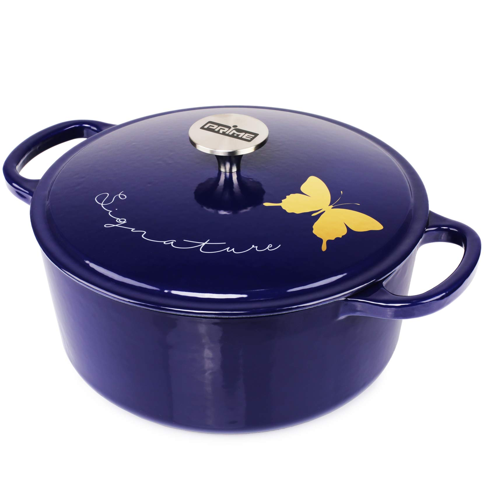 Prime | Gold Painted Enameled Cast Iron 5.5 Quart Dutch Oven, Round Casserole Dish Pot with Lid | Gift Ideas, Signature Golden Butterfly, Midnight Blue
