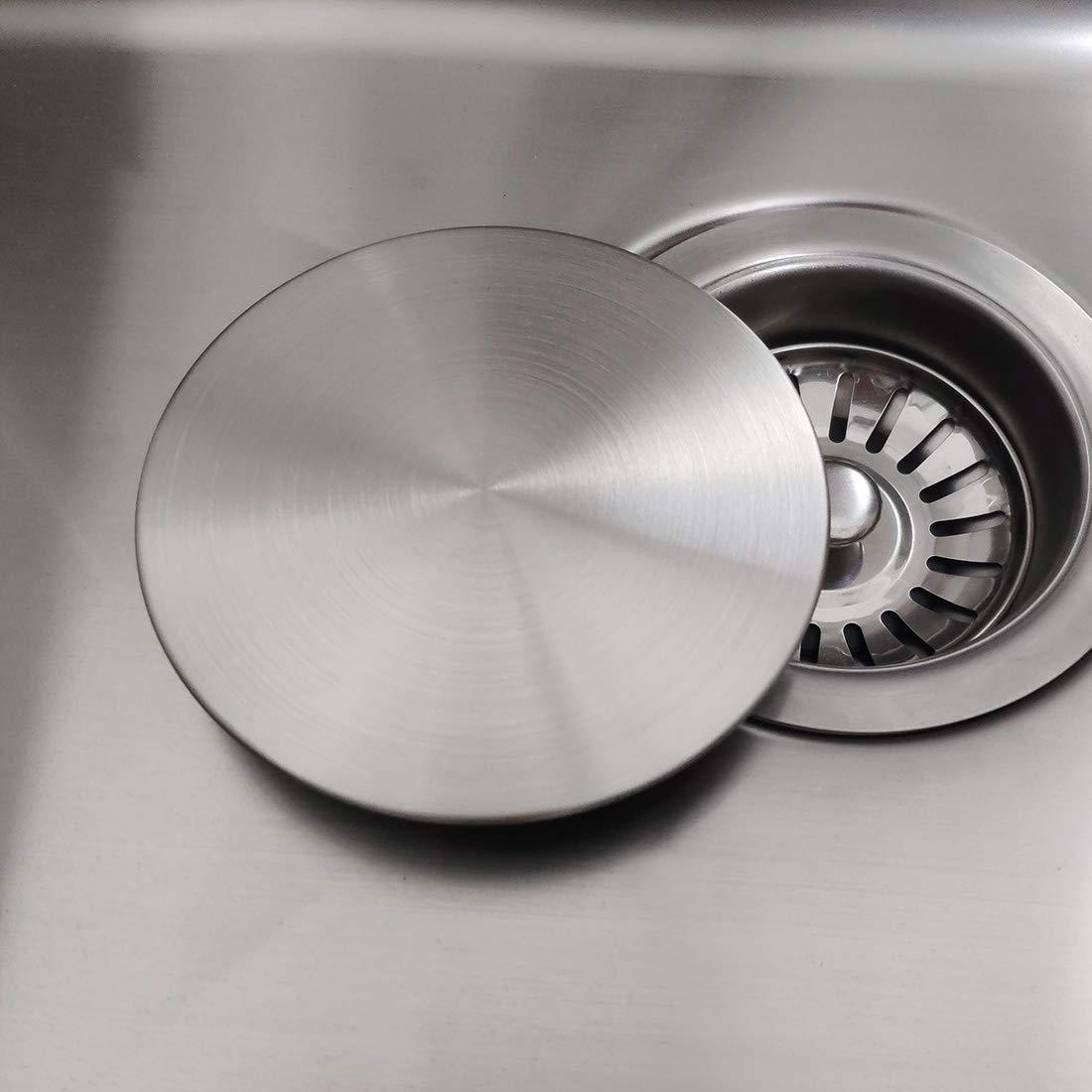 Kitchen Sink Drain Stopper.Gzila Kitchen Sink Stopper Flat Decor Cover 304 Stainless Steel Sink Drain Stopper Fits 3 5 Standard Strainer Brushed Nickel
