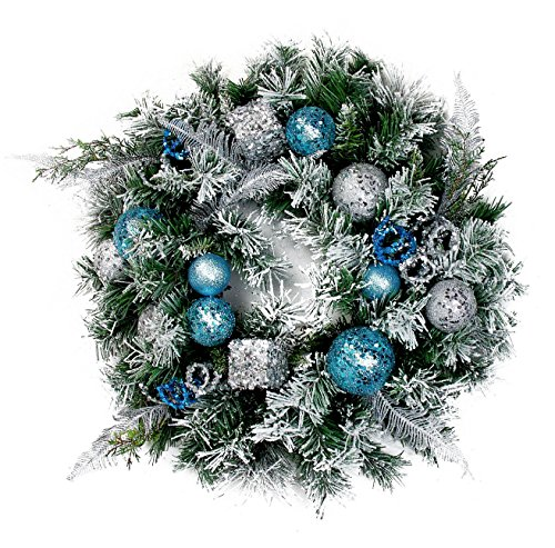 "Custom & Unique (24"" Inches) 1 Single Large Size Decorative Holiday Wreath for Door, Made of Resin w/Artificial Festive Winter Christmas Yule Ball Ornaments w/ Pine Style(White, Silver, Green, & Blue) (Wreaths Winter Ideas)"
