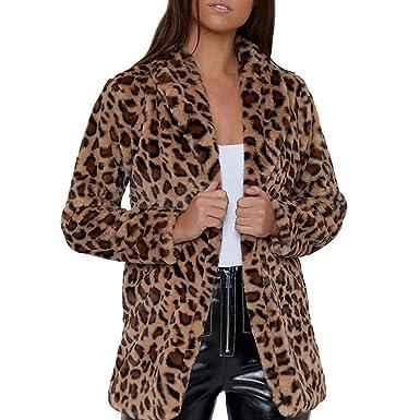 369d3479ac3f6 Women Winter Leopard Printed Faux Fur Trench Coat Long Cardigan Jacket  Outwear Parka Overcoat Windbreaker  Amazon.co.uk  Clothing
