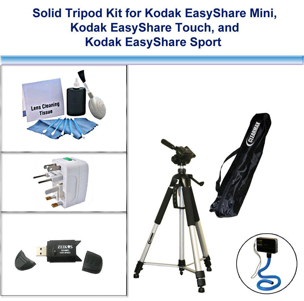 Solid Tripod Kit for Kodak EasyShare Mini, Kodak EasyShare Touch, Kodak EasyShare Sport with Monopad, USB FlashCard Reader, Universal Adapter and 5PC Lens Cleaning Kit