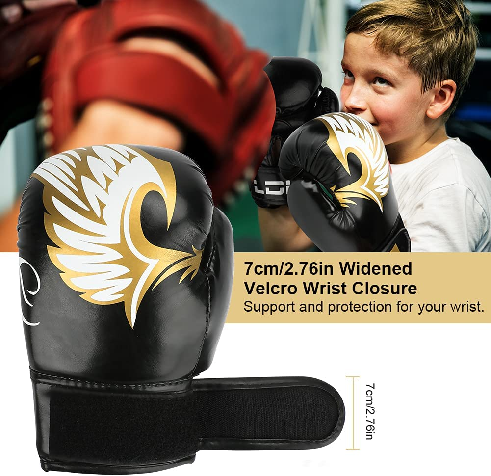 LINGSFIRE Boxing Gloves for Kids Thicken Leather Muay Thai Boxing Gloves for Child Age 7 to 16 Years 6 oz Junior Boxing Training Gloves for Kickboxing Sparring Fighting