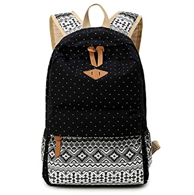 Dosane Cute Black Canvas Dot Printing Lightweight College Bookbags School Backpacks Girls Boys Backpack