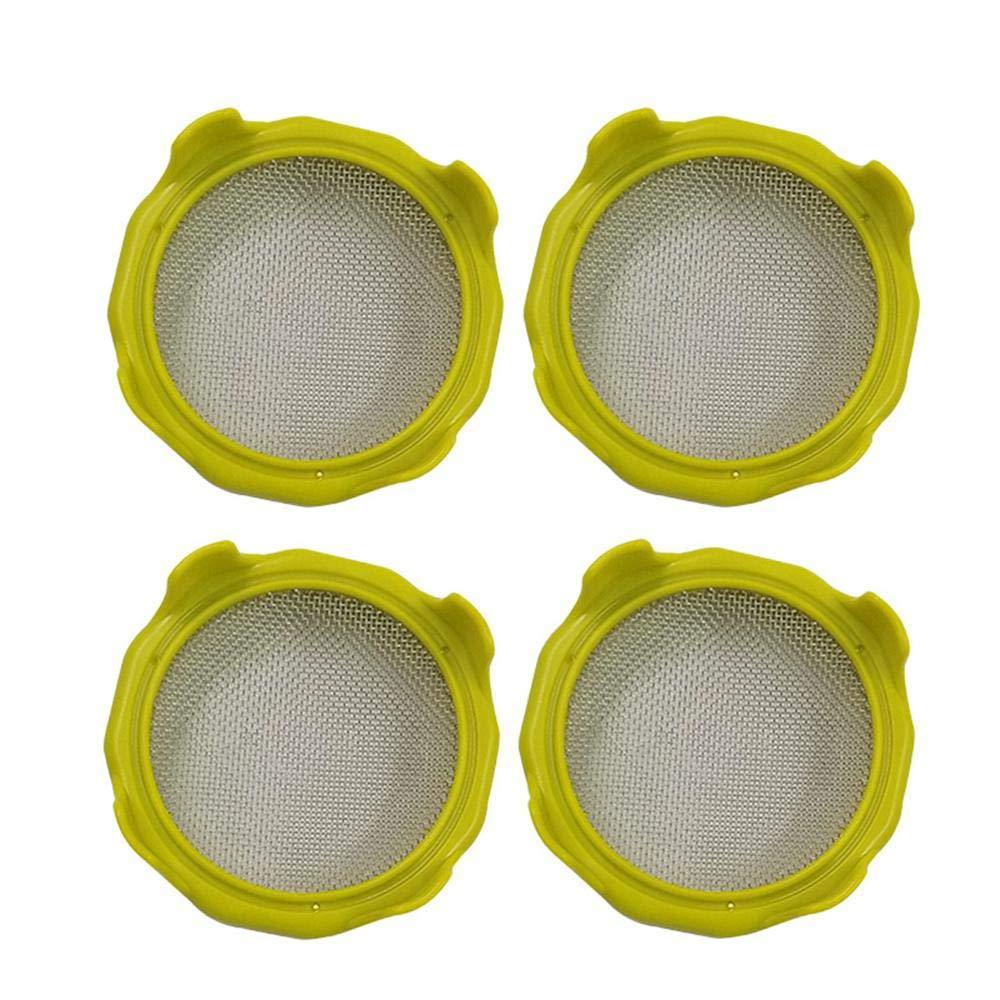 HAMKAW Set di 4 per barattoli Giallo Coperchio per germogli in Acciaio Inossidabile Coperchio per germinazione di Semi Multifunzione