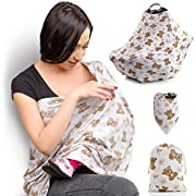 Nursing Breastfeeding Cover Scarf / Baby Car Seat Canopy + Carry Bag and Bandana Bib | Shopping Cart, High Chair, Stroller, Shawl, Carseat Cover for boys and girls | Infinity Stretchy - Gift Pack Set