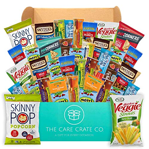 The Care Crate Healthy Snacks Care Package for Adults and Kids - Snack Box with Grains Bars, Protein Bars, Nuts, Popcorn - 40 Healthy Snacks Variety Pack ()