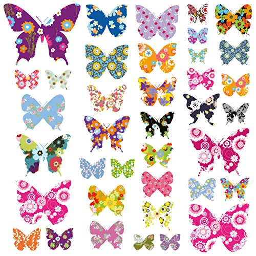 DECOWALL DW-1201 38 Colourful Flower Butterflies Kids Wall Decals Wall Stickers Peel and Stick Removable Wall Decals for Kids Nursery Bedroom Living Room from DECOWALL