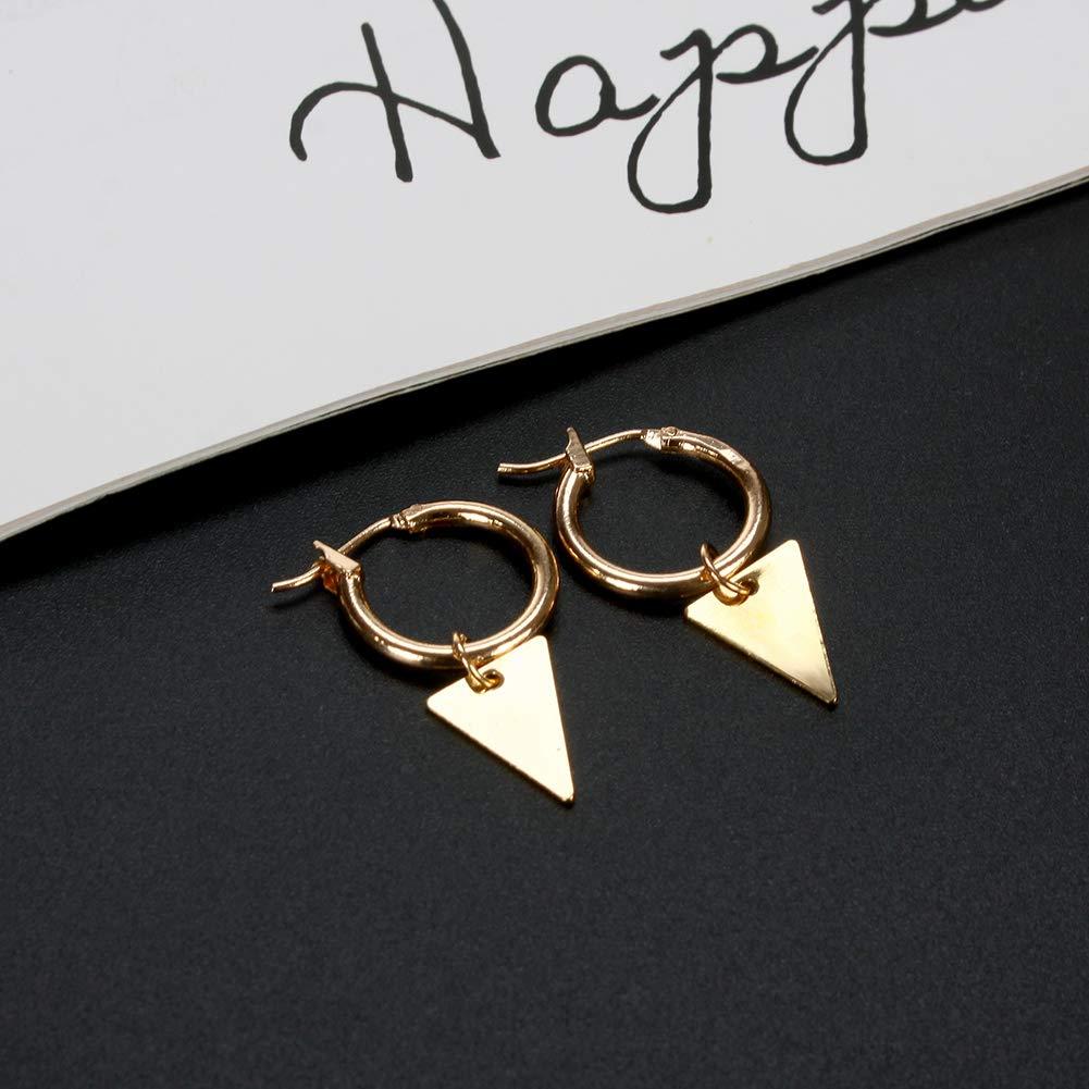 Women Girls Small hoop drop earrings star moon Pearl Triangle feather dangle earrings