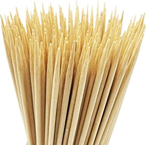 irisvito 12 Inch Natural Bamboo Skewers for Shish Kabob, BBQ Grill, Appetizer, Fruit, Corn, Chocolate Fountain, Cocktail More Food (Pack of 100)