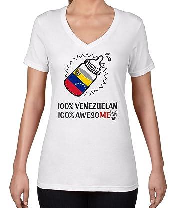 AW Fashions 100% Venezuelan 100% Awesome - Country Pride Womens V-Neck Shirt