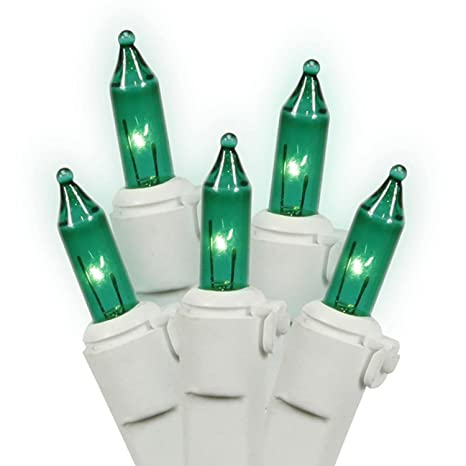 set of 35 green mini christmas lights white wire